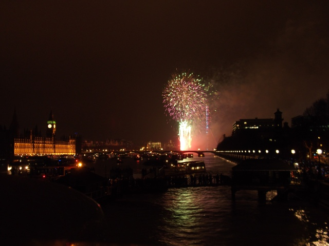 Fireworks over the Thames, New Year's Eve 2010.